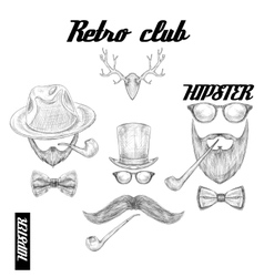 Retro hipster club accessories vector