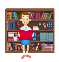 school boy reading a book vector image vector image