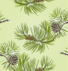 Seamless texture pine branch with snow vector