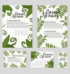 Set of floral cards design with green vector