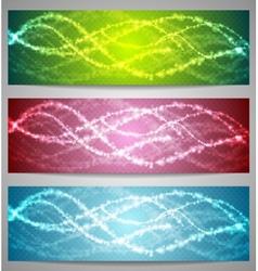 Shiny iridescent banners design vector