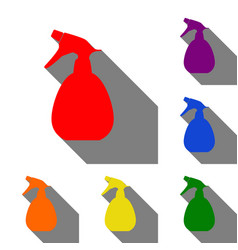 Spray bottle for cleaning sign set of red orange vector