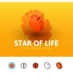 Star of life icon in different style vector