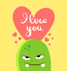 valentines day card with heart cute vector image