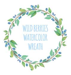 watercolor wreath with berries vector image