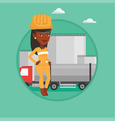 Worker on background of fuel truck and oil plant vector
