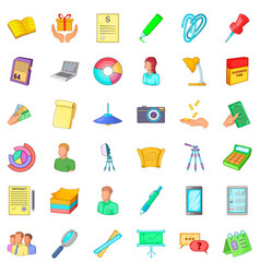 Working space icons set cartoon style vector