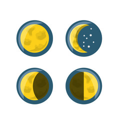 yellow moon phases design vector image