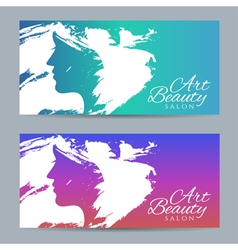Set of banners with conceptual silhouette of a vector