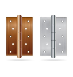 Hinges bronze color with silver steel texture vector