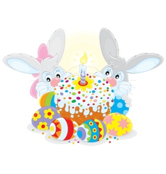 Easter cake and eggs vector