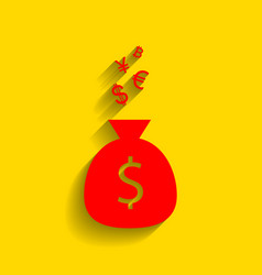 money bag sign with currency symbols  red vector image