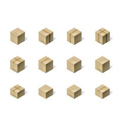 Set of twelve isometric cardboard boxes isolated vector