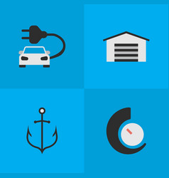 Set of simple transportation icons elements vector