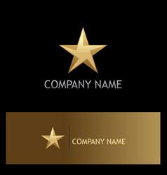 star 3d gold company logo vector image