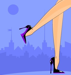 Female feet in the city vector