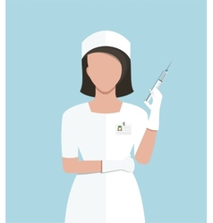 Nurse making medical injection vector