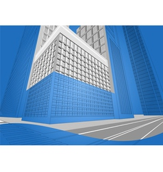Wireframe urban city on a blue background vector