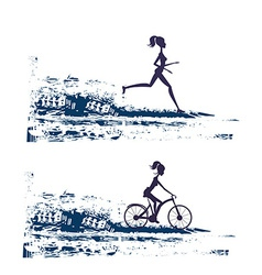 Silhouette of marathon runner and cyclist race - vector