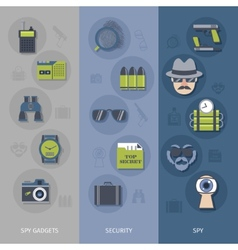 Spy gadgets banners set vector