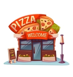 Pizzeria building with bright banner vector