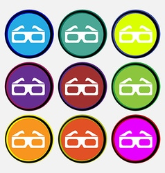 3d glasses icon sign nine multi colored round vector
