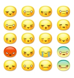 Set of cute smiley emoticons emoji vector