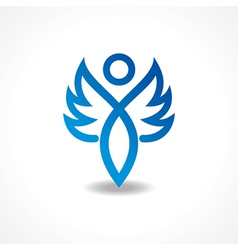 Abstract blue lady icon vector