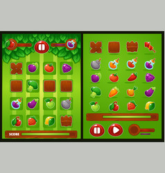 All elements for oyur match 3 game farm vector
