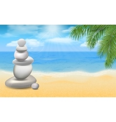 Balanced stones on sea beach with palm trees vector