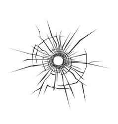 Bullet Hole in Glass White Background vector image vector image