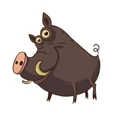 Cartoon funny warthog vector