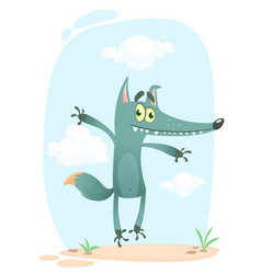 cartoon funny wolf or coyote vector image vector image