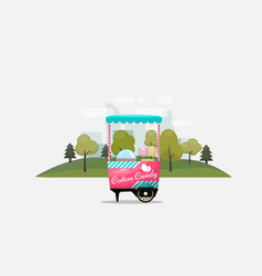 Cotton candy cart kiosk on wheels retail sweets vector