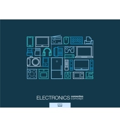 Electronics integrated thin line symbols modern vector