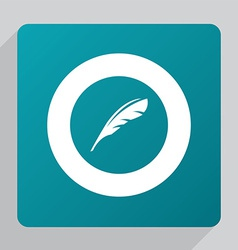flat feather icon vector image