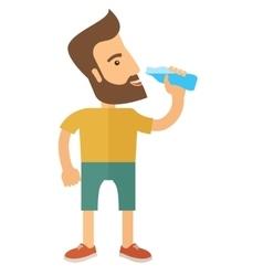Gentleman drink a bottle of energy drink vector