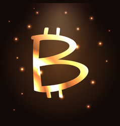 Golden bitcoin icon bitcoin cryptocurrency vector