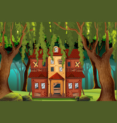 haunted house in the forest vector image vector image