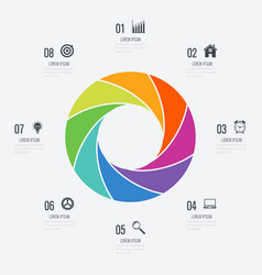 infographics template 8 options with circle vector image vector image