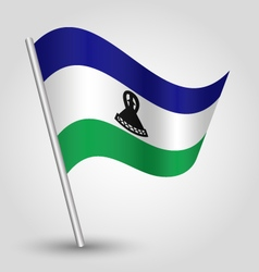 Lesotho flag on pole vector