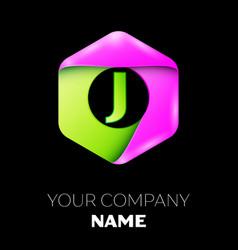 Letter j logo symbol in colorful hexagonal vector