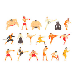 Martial arts fighters demonstrating different vector