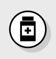 Medical container sign flat black icon in vector