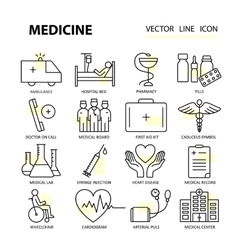 Modern thin line of icons on medicine and health vector