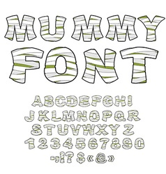 Mummy font alphabet in bandages monster zombie vector