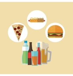 Pizza hot dog and hamburger design vector
