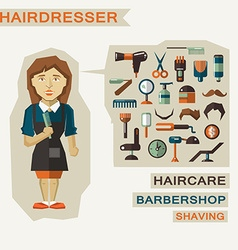 Profession of people Flat infographic Hairdresser vector image vector image