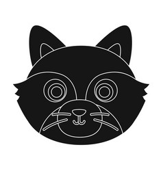 raccoon muzzle icon in black style isolated on vector image