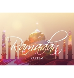 Ramadan kareem watercolor mosque vector